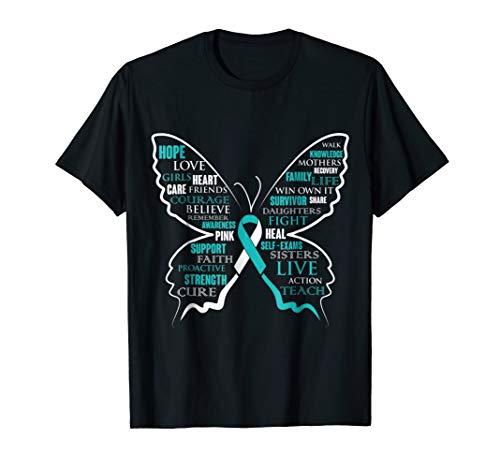 Hope Faith Love Butterfly Cervical Cancer Awareness T Shirt (Cervical Month Cancer Awareness)
