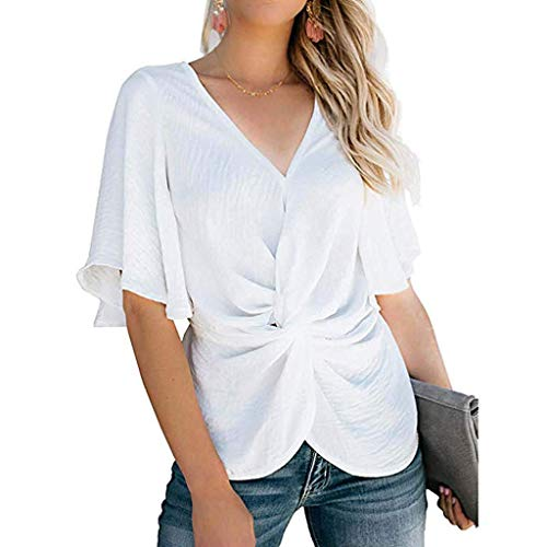t Sleeve V Neck Solid Ruched Pleated Shirts Summer Loose Casual Tops Tee ()