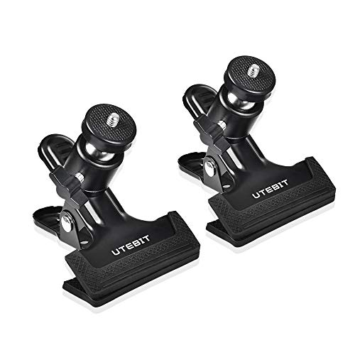 UTEBIT Tripod Clip Clamp with 360° Mini Ballhead Heavy Duty Clamps Photography Accessories Clip Mount 1/4'' Screw Black Spring Clamp (2 Pack) -