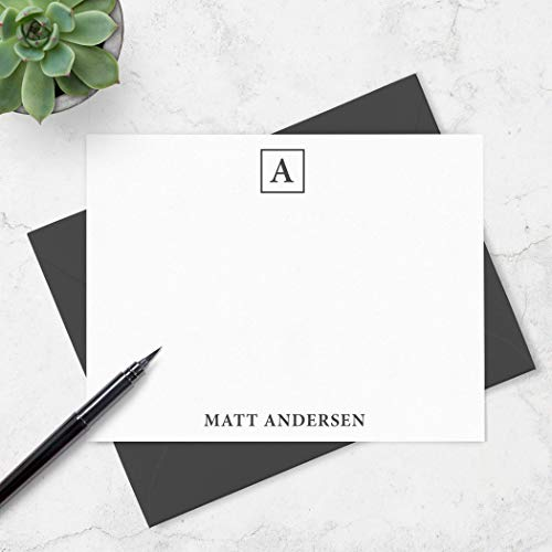 Personalized Stationery Monogram - Monogrammed Note Card Boxed Set for Men - Personalized Stationery with Monogram and Name - Choose Envelope & Ink Colors