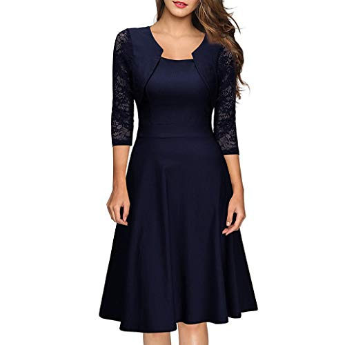 Todaies Women Vintage Princess Floral Lace Cocktail Patchwork Party Aline Swing Dress Navy