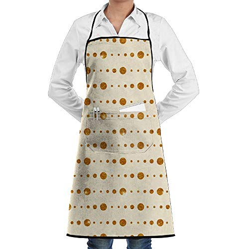 Kitchen Bib Apron For Women Men Durable Chef Apron For Cooking,Grill And Baking,Jade Point Adjustable 100% Polyester With Pocket -