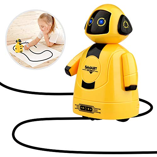 Betheaces Robot Toy for Kids Toddler Smart Educational Inductive Mini Robotics Kit Boys Girls Novelty Intelligent Birthday Gift with Magic Pen Light Up Eyes Included Batteries (Yellow)]()