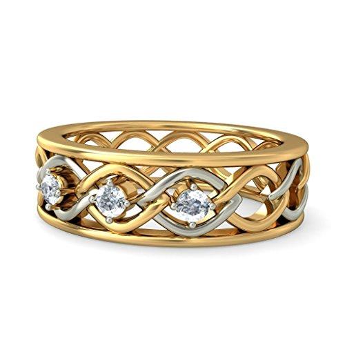 14K Or jaune, 0.09carat Diamant Blanc (IJ | SI) en diamant
