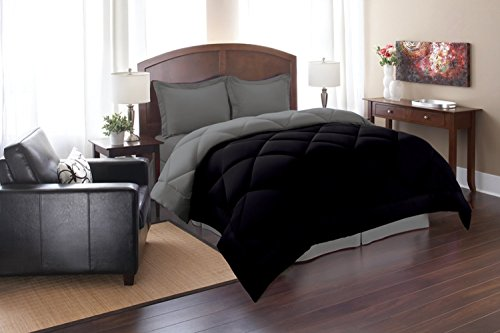 Elegant Comfort Goose Down Alternative Reversible 3pc Comforter Set, Full/Queen, Black/Gray