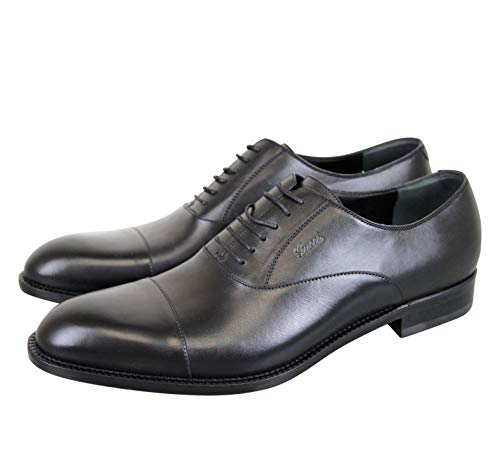 Gucci Smooth Black Leather Oxford with Script Logo 257823 (13.5 G / 14.5 US)