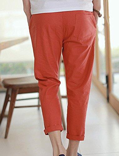 Uomo Coulisse Elastica Anyua Casuale Chinos Pantaloni Rosso Vita Pantalone XFgFwnaq1