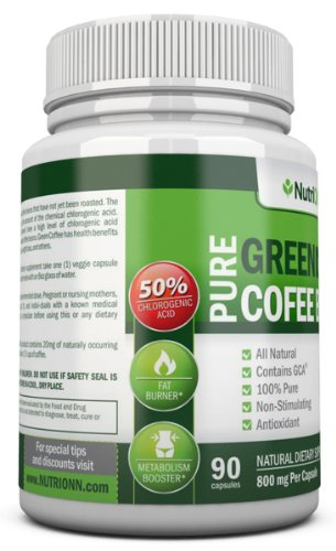 GREEN COFFEE BEAN EXTRACT with GCA, 800mg - 90 Vegetarian Capsules - Best Value For Price! - Highest Quality Pure Natural Coffee Extract for Weight Loss by NutriONN (Image #3)