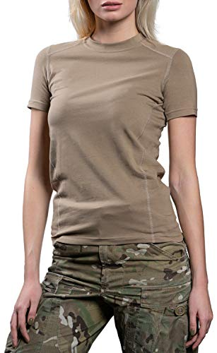 281Z Womens Military Stretch Cotton Underwear T-Shirt - Tactical Hiking Outdoor - Punisher Combat Line (Tan, Medium)]()