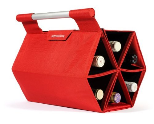 Bag Carrying Ultimate Wine - ZEbag Ultimate Wine Bottle Carrying Case, Carry up to 6 bottles at once, for Use As Bag or Bar Mode, Red