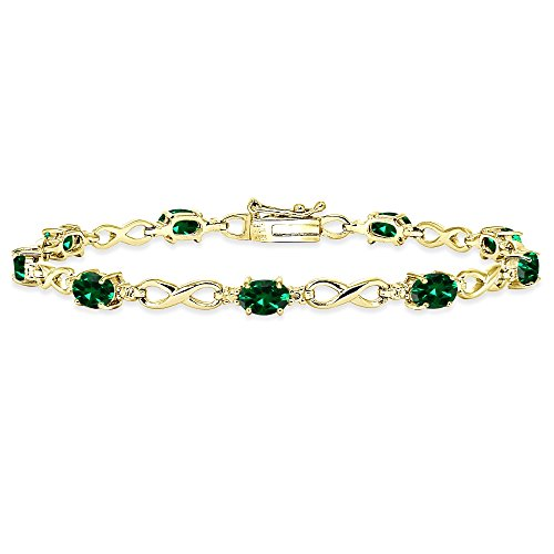 Yellow Gold Flashed Sterling Silver Simulated Emerald Oval Polished Infinity Classic Tennis Bracelet