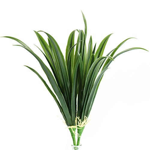Jasming Artificial Leaves Green Plants Real Touch Cymbidium Orchid Fake Branches for Garden Home Decoration (B) - Green Leaf Orchid