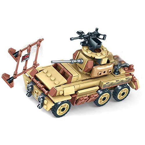 koolfigure Custom Sets of WW2 Military Army Truck, Vehicle Mounted Howitzers, Armored Car, Aircraft Building Blocks Toy (Armored Car)