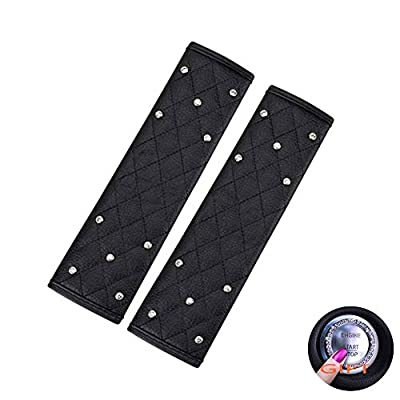 EGBANG 2 Pcs Car Seat Belt Pads, Crystal Rhinestone Auto Seatbelt Cover, PU Leather Shoulder Strap Covers Bling Bling for Lady Girls Universal Fit (Decorated Bling Seat Belt Pads): Automotive