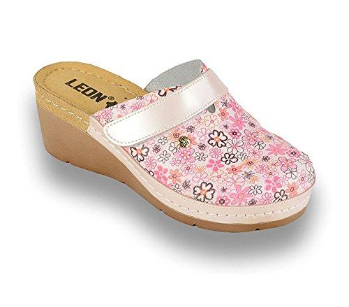 39 Scarpe 1003 Donna Pelle Perla EU Sabot LEON Pantofole Zoccoli PzdxwqqIB