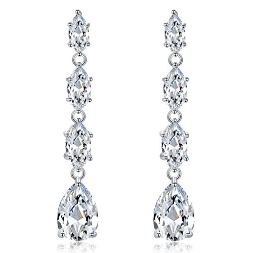 Quinlivan Shiny Silver Plated, Hypoallergenic Linear Mix-shape Clear Cubic Zirconia Drop Earring Cubic Zirconia Linear Drop