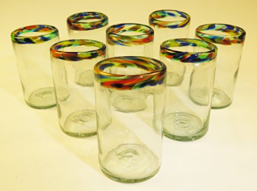 Mexican Glasses Confetti Rim Tumblers 16 oz, (8) by Mexican Glasses