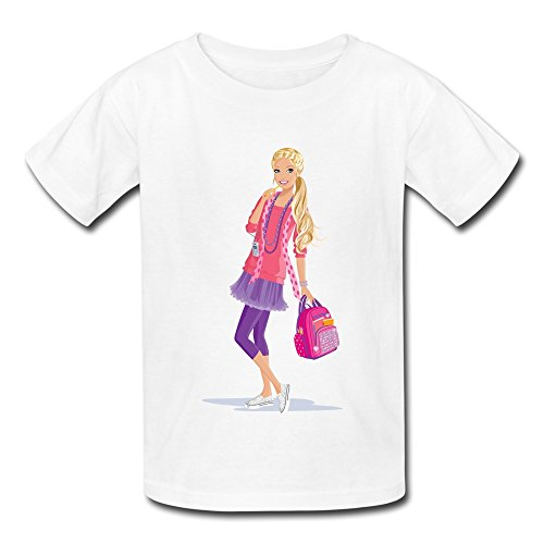 Kid's Funny Barbie T-shirts Size S White By Mjensen
