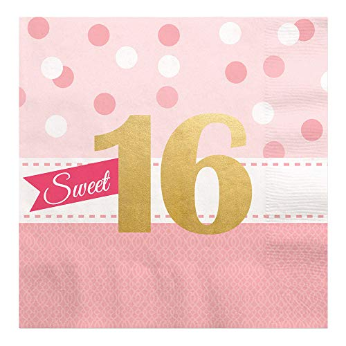 Sweet 16 with Gold Foil - 16th Birthday Party Luncheon Napkins (16 Count)