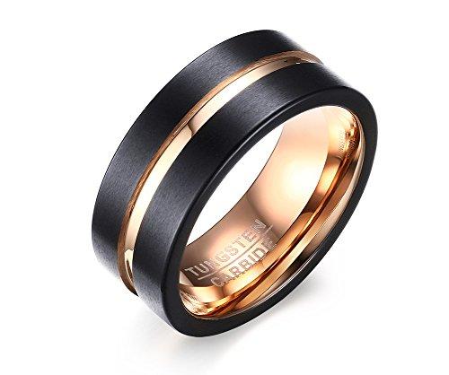 MAIKEDIAO 8mm Black Tungsten Carbide Wedding Band Rings Men Matte Finish Polished Beveled Edge Size (Black Magic Titanium Tire)