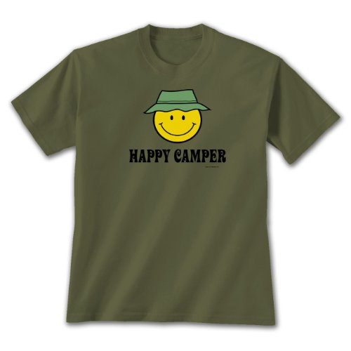 Earth Sun Moon Happy Camper - XXL T-shirt Military Green, Funny Camping Themed Novelty Gift Tee