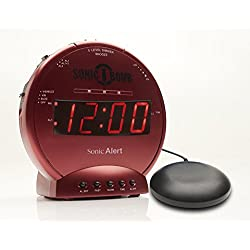 Sonic Bomb Dual Extra Loud Alarm Clock with Bed Shaker, Vibrating Alarm for Heavy Sleepers, Full Range Dimmer, Battery Backup - Red