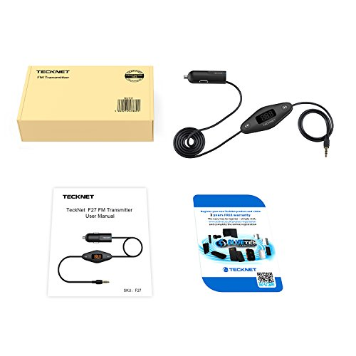 TECKNET F27 In Car Universal Wireless FM Transmitter with 3.5mm Audio Plug and USB Car Charger by TeckNet (Image #6)