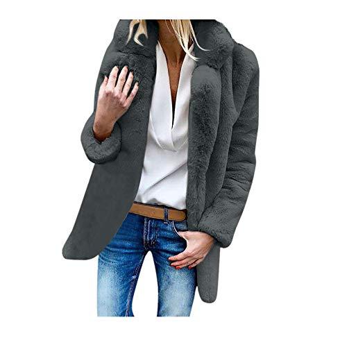 Womens Sweater,Kulywon Womens Ladies Warm Artificial Wool Coat Jacket Lapel Winter Outerwear(XXL/US 12,Gray)