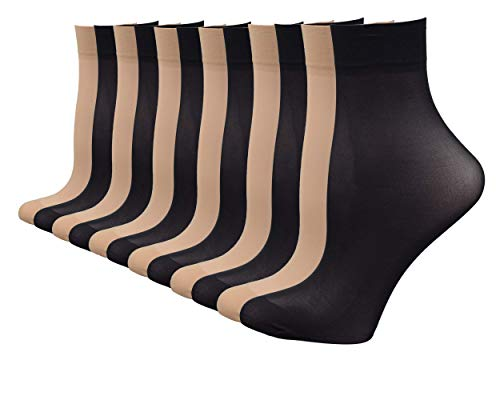 Fitu Women's 50D Extra Soft 12 Pairs Sheer Nylon Ankle High Tights Hosiery Socks (6 Black 6 Beige)
