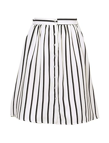 Allegra K Women's Striped Button Front Elastic Back Waist A Line Midi Skirt White Small