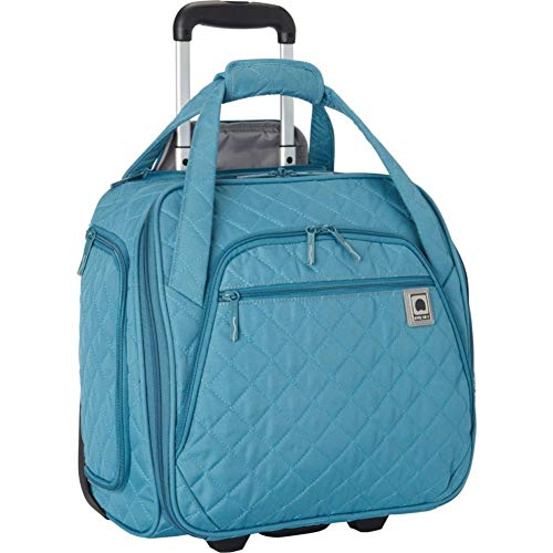 (Delsey Quilted Rolling Underseat Bag For Carry-On Fits Overhead & Under Airline Seat - (Teal))