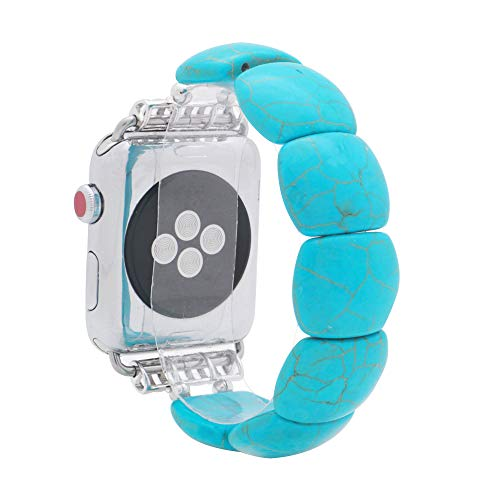 KAI Top Compatible for 38mm 42mm Apple Watch Series 3/2/1 Replacement iWatch Band Fashion Beaded Created-Turquoise Elastic Bracelet Band Strap for Women Girl (Blue Oval, 38mm)