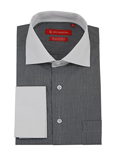 Gino Valentino Mens Stripe Dress Shirt Cotton Spread Collar French Cuff (15