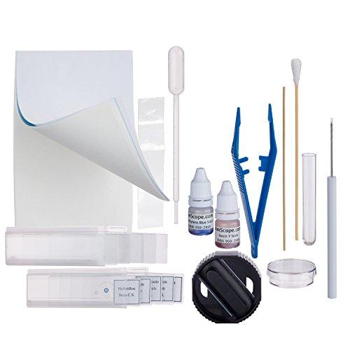 AmScope M100C-LED-SP14-CKI-WM 40X-1000X LED Student Biological Field Microscope + Slide Preparation Kit & Book