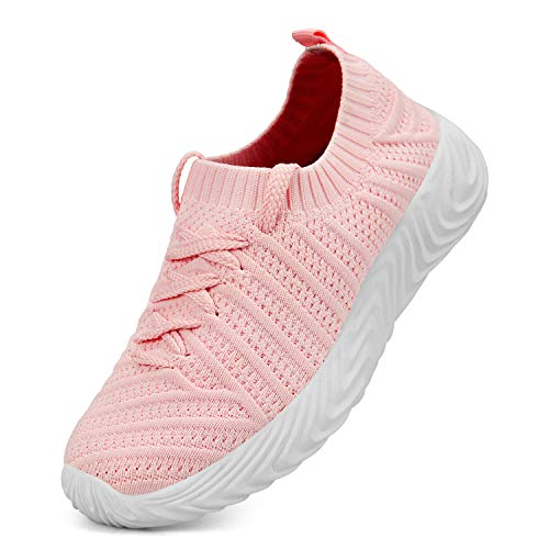 QANSI Kids Unisex Casual Sneakers Walking Tennis Lightweight Shoes for Boys Girls Pink Size 3.5 Little Kid]()