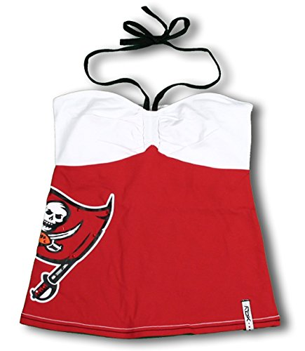 REEBOK Tampa Bay Buccaneers NFL Women's Radar Neck Tie Tank Top, Red and White (Reebok Nfl Tampa Bay)