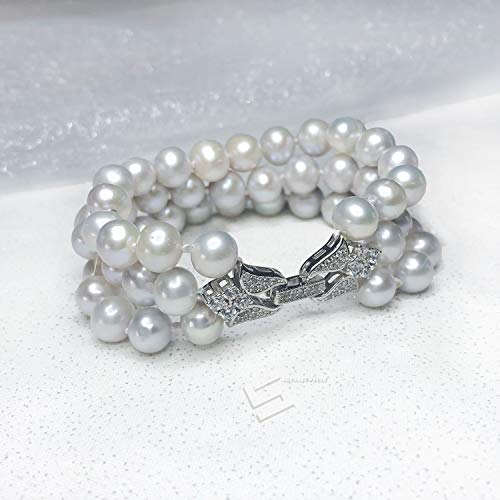 Natural Gray Pearls And Silver Bracelet, 8-9MM Freshwater Cultured Pearls In Sterling Silver Triple Bracelet, Three Rows Real Pearl Bangle