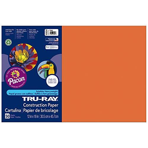 (Tru-Ray Heavyweight Construction Paper, Orange,  12