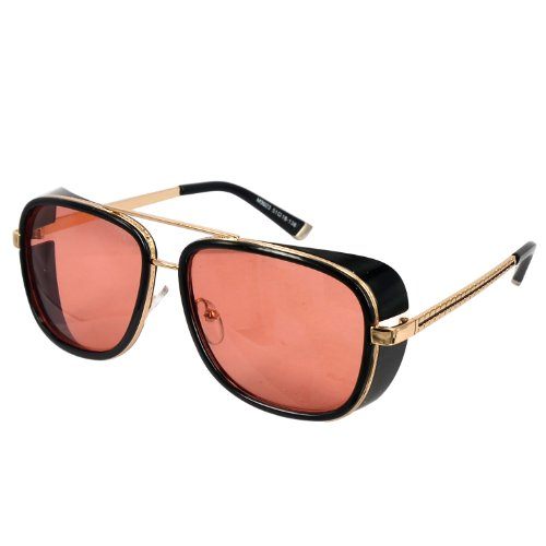 Unisex Retro Sidecups Steampunk Sunglasses in Red - Tony Stark Sunglasses