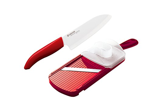 Kyocera Advanced Ceramic Revolution Series 5-1/2-inch Santoku Knife and Adjustable Slicer Set, Red