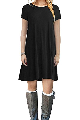 POSESHE Women's Short Sleeve Swing Loose Flowy Casual Tunic Shirt Mini Dress Black XL