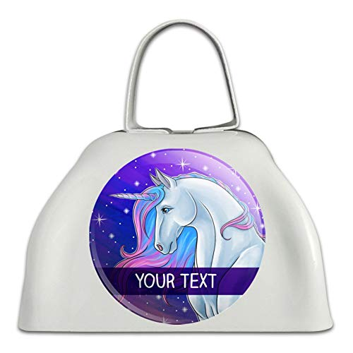 Majestic Line - Personalized Custom Majestic Unicorn 1 Line White Metal Cowbell Cow Bell Instrument