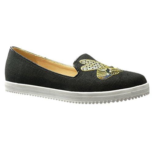 Angkorly - Chaussure Mode Mocassin Jeans Denim slip-on semelle basket femme brodé strass diamant fantaisie Talon plat 0 CM - Noir