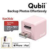 Flash Drive for iPhone, Auto Backup Photos & Videos, Photo Stick for iPhone, Qubii Photo Storage Device for iPhone & iPad【128GB - Pink】