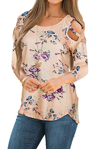 (CEASIKERY Womens Floral Blouse Loose Strappy Cold Shoulder Tops Casual T Shirts ((US) Medium, 3/4 Sleeve Floral Khaki))