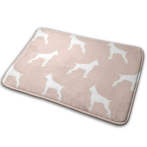 Boxer Dogs On Blush Cropped Ears U0026 Docked Tail Floor Bath Entrance Rug Mat Absorbent Indoor Bathroom Decor Doormats Rubber Non Slip 15.7