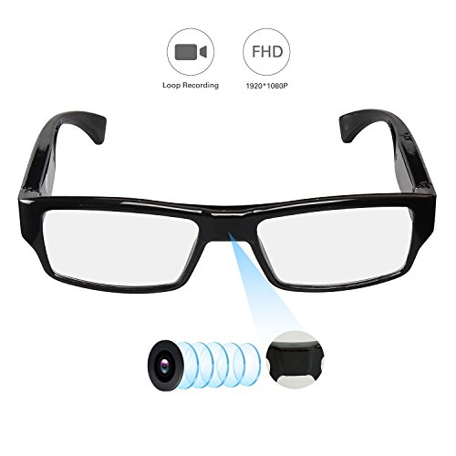 HD 1080P Hidden Spy Camera Glasses Recording Glasses Wearable Cameras, YAOAWE Sunglass Mini Video Recorder+Loop Recording, USB Charger Camera (Eyeglass Camera no SD Card)