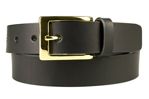 M, 34-38, Black, Gold Plated Buckle Leather Belt - 1 3/16