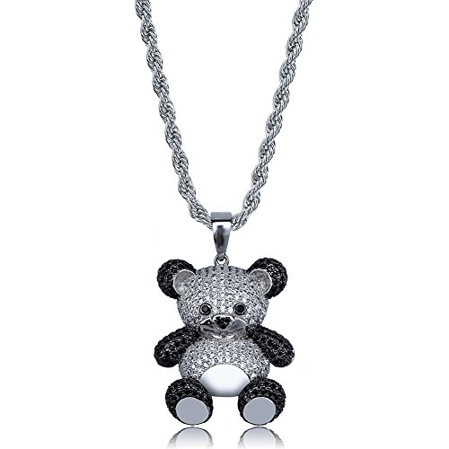 SHINY.U 14K Gold Silver Plated Iced out CZ Simulated Diamond Zirconia Teddy Bear Pendant Necklace Men Women Fashion Jewelry Gifts (White Gold)