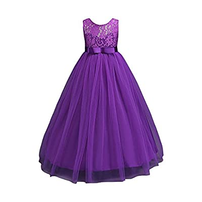 Glamulice Girls Lace Bridesmaid Dress Long A Line Wedding Pageant Dresses Tulle Party Gown Age 3-14Y